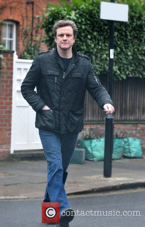 Colin Firth walking near his home London, England