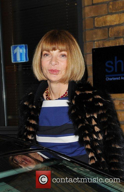 Anna Wintour leaving the Comedy Theatre after watching...