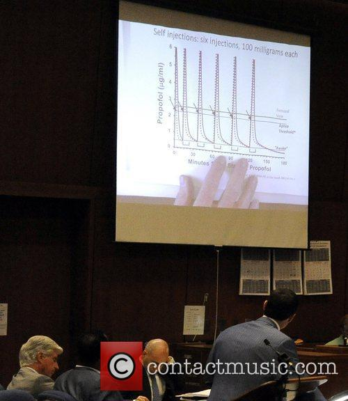 A chart showing propofol injections is projected onto...