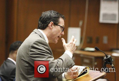Defense attorney Ed Chernoff questions a witness during...