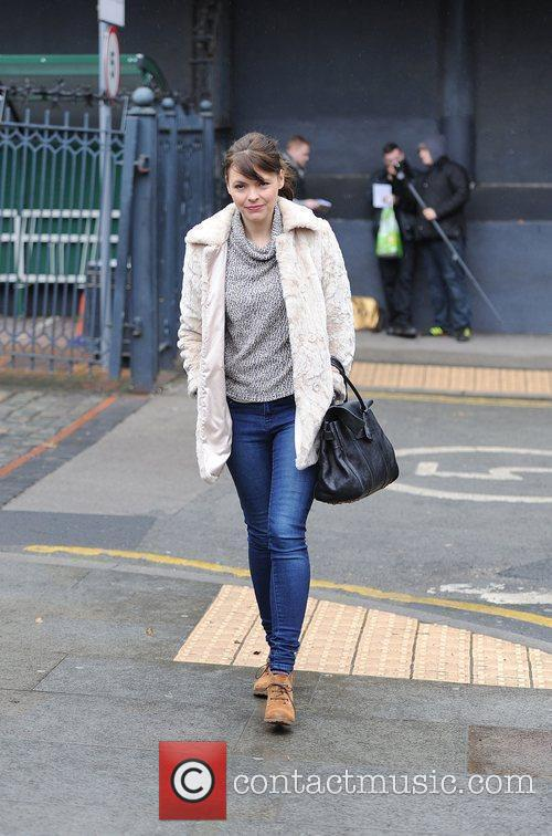 Arrives at the Granada Studios to film an...
