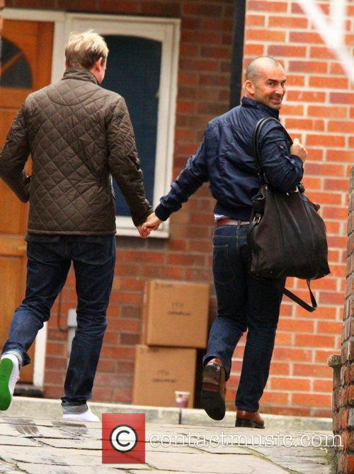 Louie Spence and Antony Cotton arriving on the...
