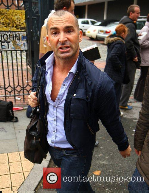 Louie Spence arriving on the set of Coronation...
