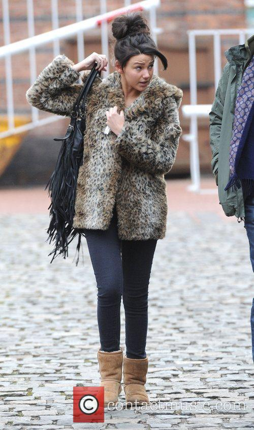 Michelle Keegan leaves the 'Coronation Street' set Manchester,...