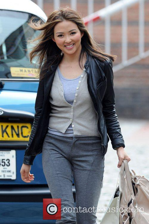Leaves Granada Studios after filming 'Coronation Street'