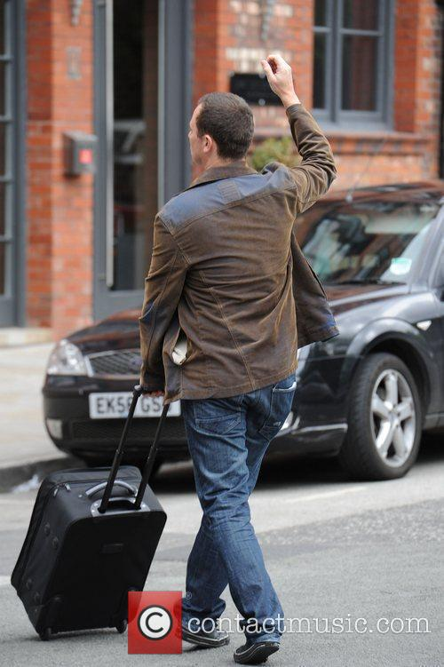 Andrew Lancel  arrives at the Coronation Street...