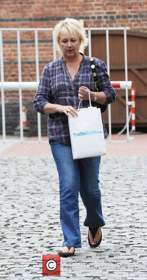 Sue Cleaver leaving the Coronation Street Set in...