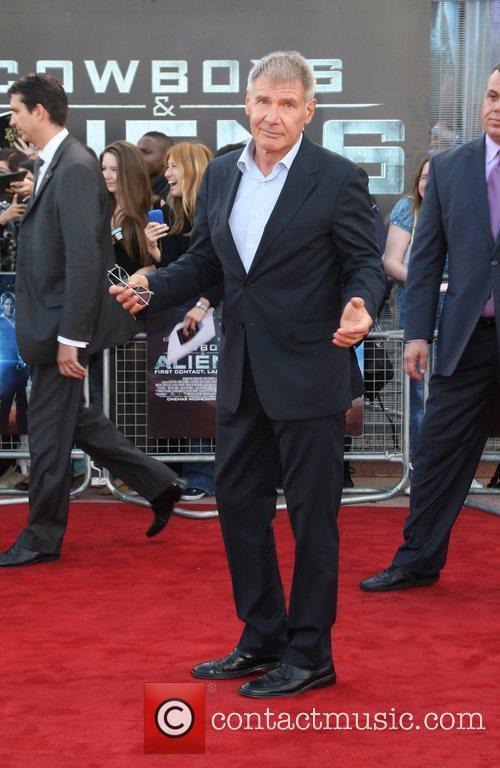 Harrison Ford Cowboys & Aliens premiere held at...