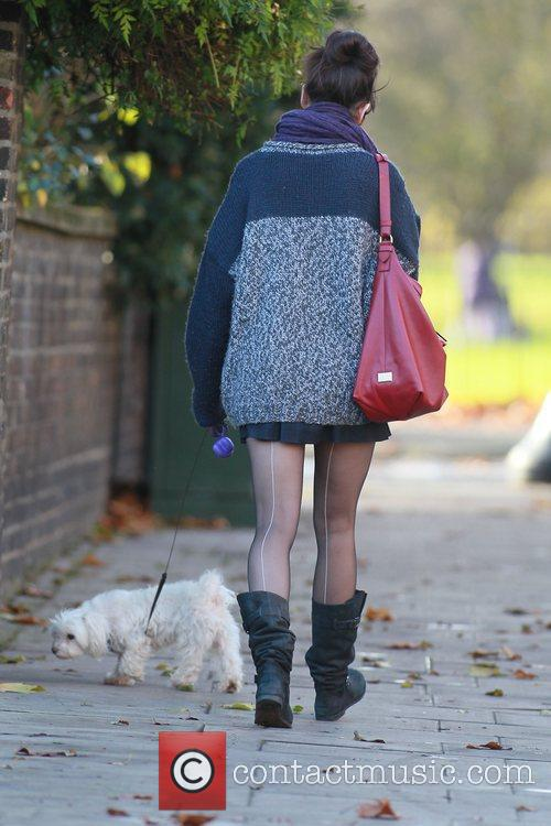 Walking her dog in north London
