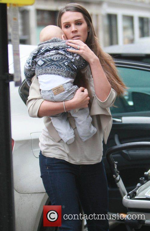 Danielle Lloyd visits a hair salon with son...
