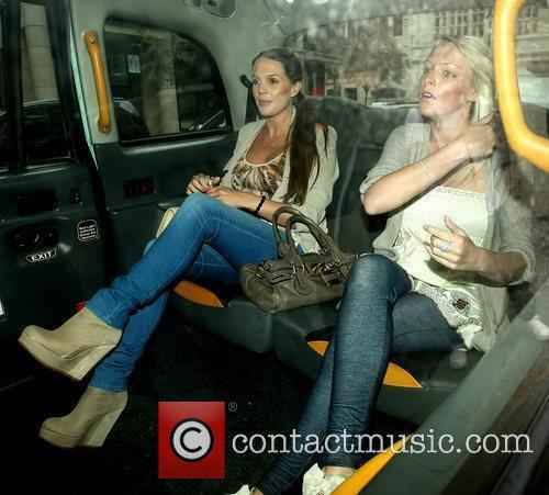 Danielle Lloyd and friend leaving the Mayfair Hotel...
