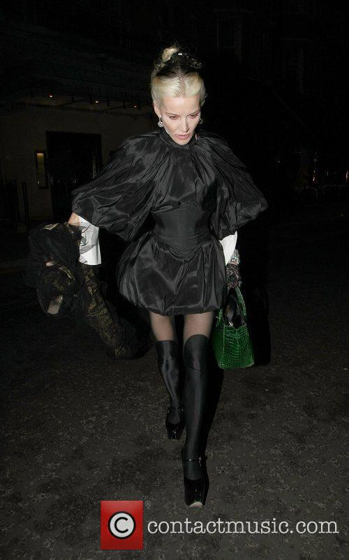 Daphne Guinnes leaving Scotts Restaurant