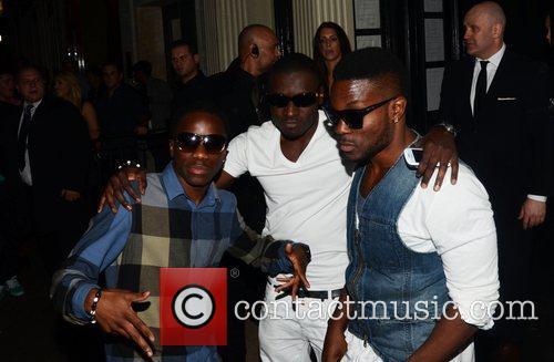 Tinchy Stryder celebrities arrive at Movida to celebrate...