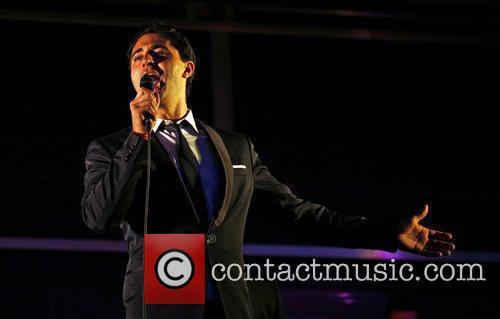 Darius Campbell performing at Kempton Park racecourse Surrey,...