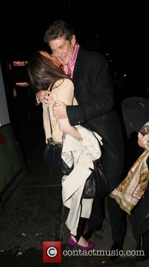 David Hasselhoff is seen leaving Boujis nightclub with...