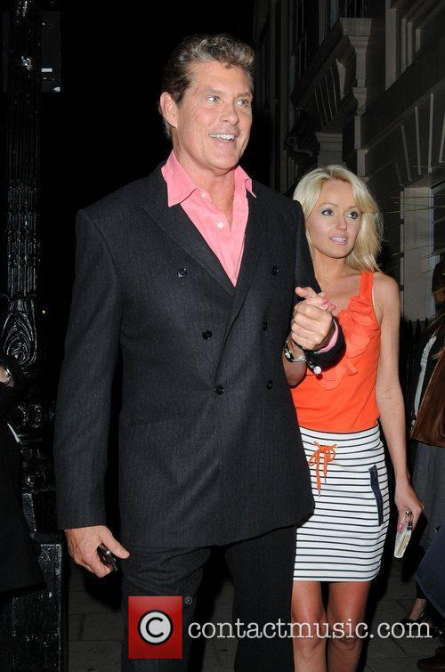 Hayley Roberts and David Hasselhoff leaving the Theatre...