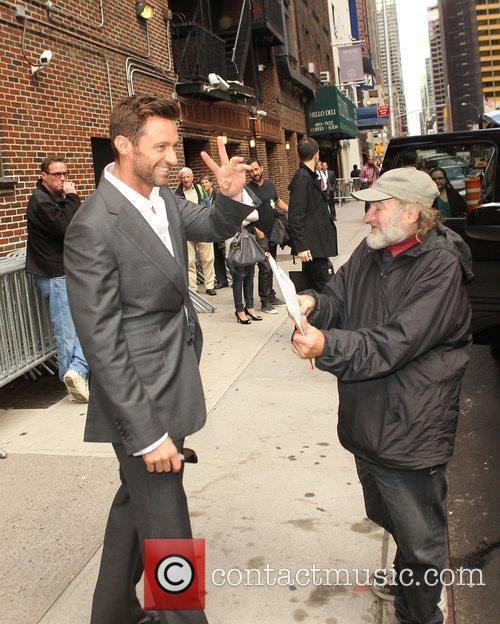 Hugh Jackman with Radio man 'The Late Show...