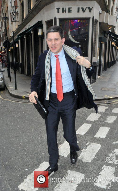 David Milliband outside The Ivy restaurant in the...