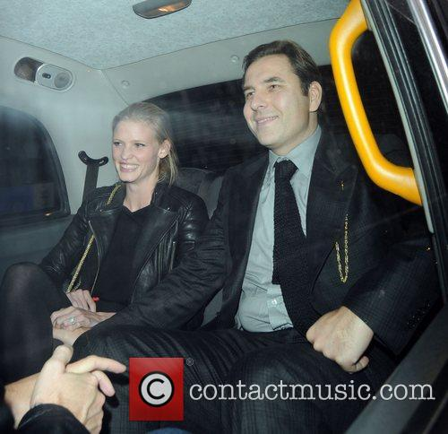 David Walliams and Lara Stone leaving Nobu Restaurant