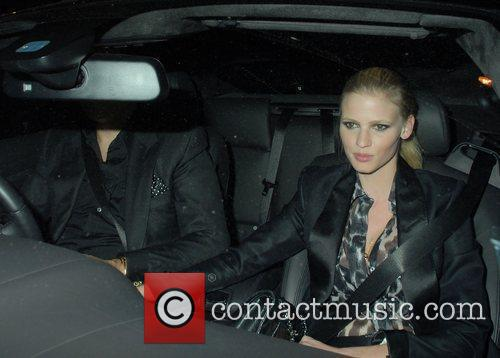 Lara Stone,  driving around in Mayfair London,...