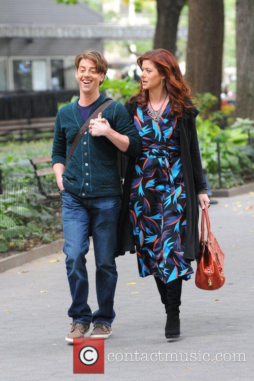 Debra Messing and Christian Borle film the new...