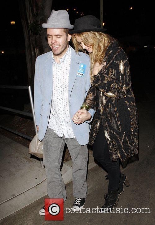 Perez Hilton and Delta Goodrem  leaving the...