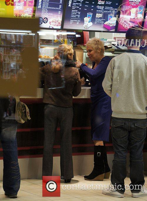 Denise Welch buying a KFC in Piccadilly Circus...