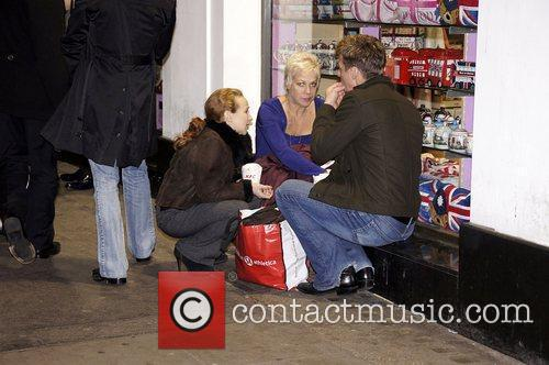 Denise Welch eating a KFC in Piccadilly Circus...