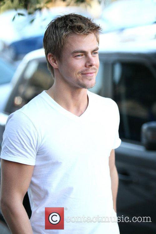 Derek Hough is seen in good spirits while...
