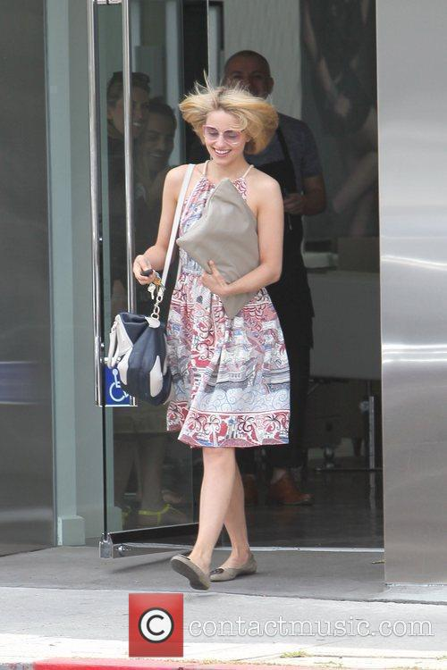 Dianna Agron is seen leaving a hair salon...