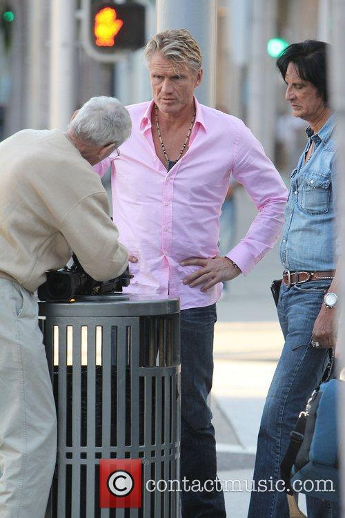 Dolph Lundgren during filming of an interview on...