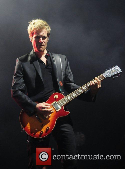 Dom Brown of Duran Duran performs at Hard...