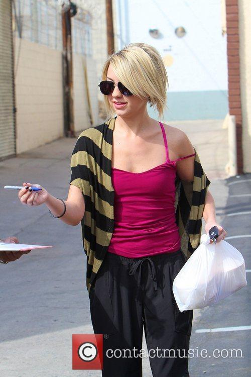 Celebrities leaving a dance studio after 'Dancing with...