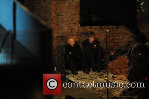 Eddie Izzard on the set of BBC kids...