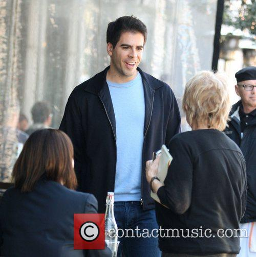 Eli Roth having lunch with a friend at...