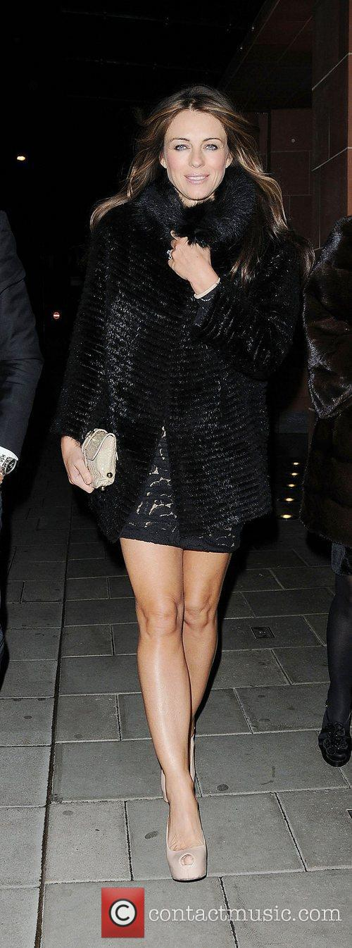 Elizabeth Hurley leaving C London restaurant London, England
