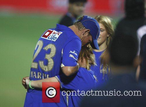 Shane Warne hugs his daughter Brooke after Rajasthan...