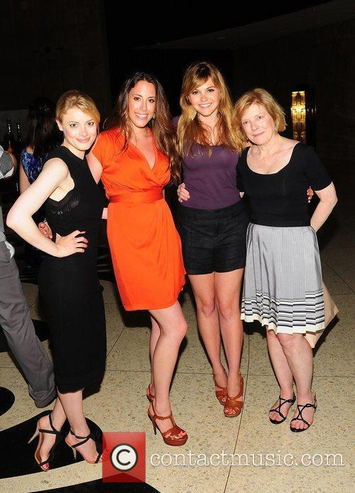 Gillian Jacobs, Aimee Teegarden,(2nd from R) with her...
