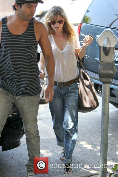 Ellen Pompeo arriving at the Kate Somerville skin...