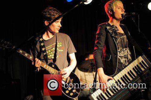 Alex Juno (right) of Elmo Sex Whistle performing...