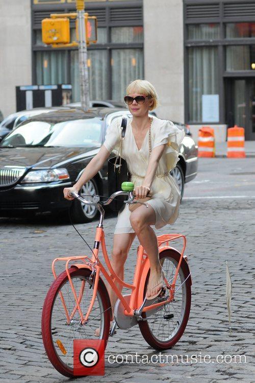Designer Erin Fetherston riding a bike in New...