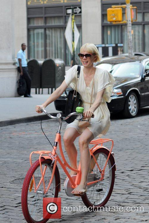 Designer Erin Fetherston riding a bike in New...