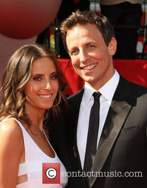 Seth Meyers (R) and girlfriend Alexi Ashe...