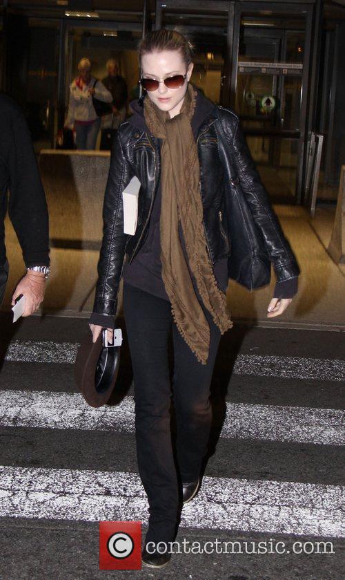 Actress, Evan Rachel Wood, arriving at Washington Dulles...