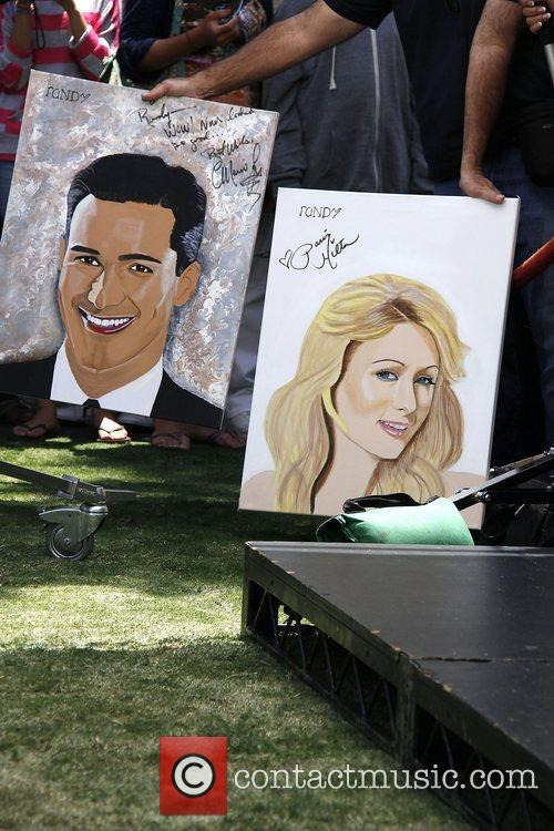 Paris Hilton painting at The Grove for an...