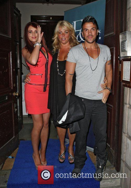 Amy Childs and Peter Andre and his manager,...