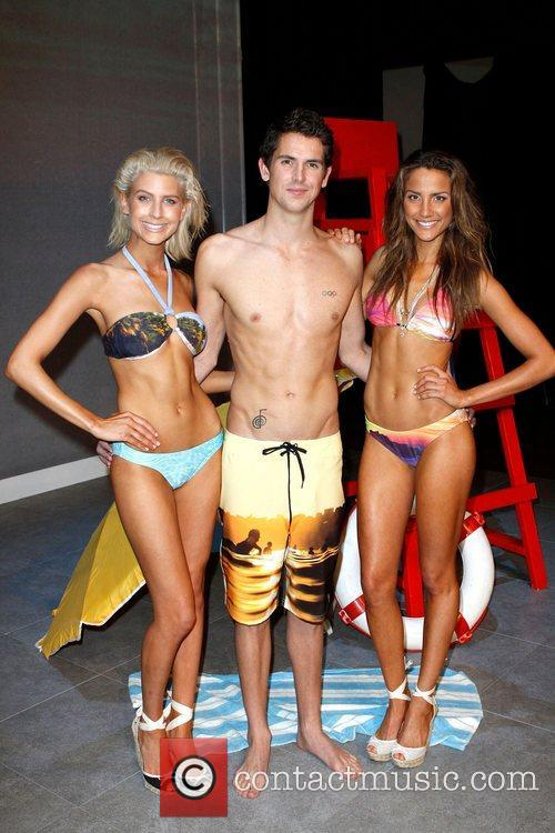 (l-r) Model, Eamon Sullivan, Rachael Finch The Speedo...