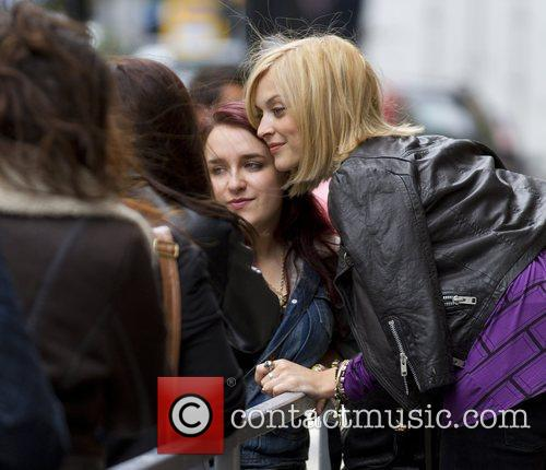 Talks to fans outside the BBC Radio 1...