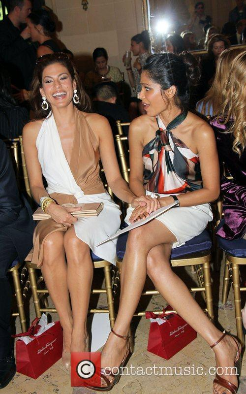 Eva Mendes and Frieda Pinto  The Ferragamo...