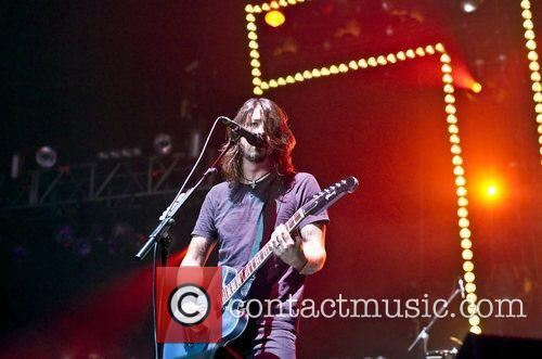 Dave Grohl Foo Fighters performing live at Wembley...